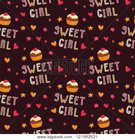 Cute seamless pattern with cupcakes