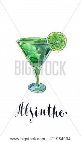 Glass of absinthe with lime hand drawn watercolor - Illustration