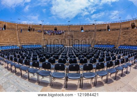 The magnificent amphitheater in Caesarea Roman period. Spring trip to Israel