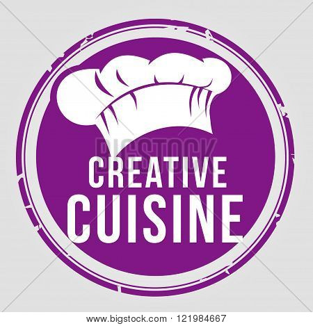 purple stamp creative cuisine with chef's hat