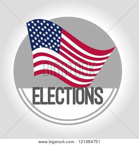 Gray Icon US presidential elections with flag