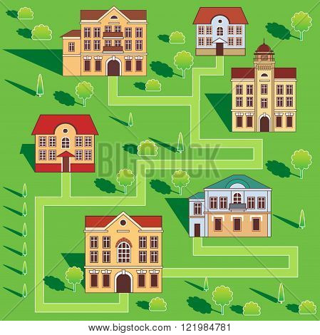 Town With Colorful Houses. Seamless Pattern. Vector Cartoon Illustration On A Green Background. Town And Country. Town Square. Town Homes For Rent. Townhomes For Sale. Town Hall. Big Town. Flat Town.