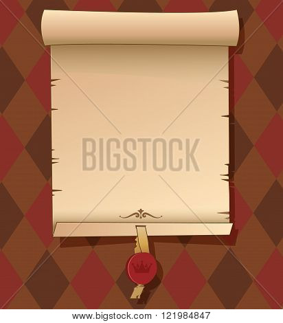 Old Scroll Paper. Background With Signet. Vector Template. Old Scroll Paper Template. Old Scroll Paper Vector. Old Scroll Paper Printable. Old Scroll Paper For Sale. Old Scroll Paper.