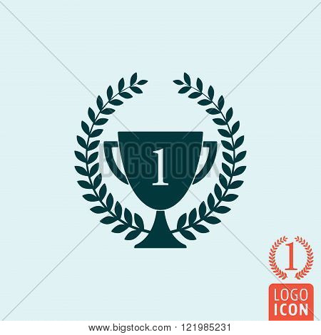 Trophy and Laurel wreath icon. Trophy and Laurel wreath symbol. Winner wreath isolated trophy minimal design. Vector illustration