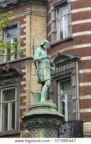 Brussels, Belgium - May 10: There's sculpture artisan in region of Brussels that called Sablon near the royal park du Sablon May 10 2015 in Brussels Belgium.