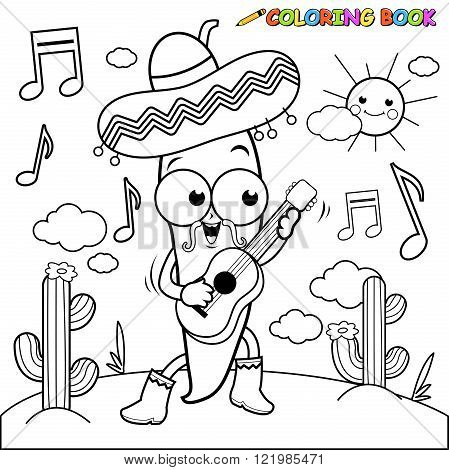 Vector black and white Illustration of a mariachi chili pepper playing the guitar, singing and dancing in the Mexican desert.