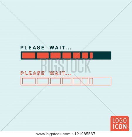 Status bar icon. Status bar symbol. Loading icon. Please wait bar icon isolated. Vector illustration