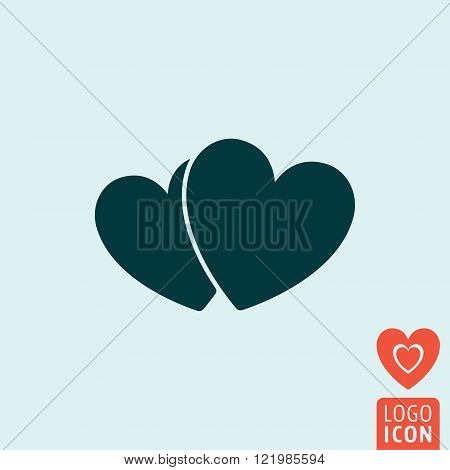 Heart icon. Heart symbol. Two hearts icon isolated. Vector illustration