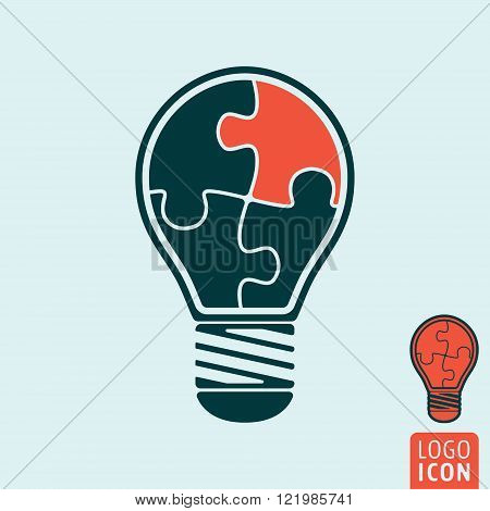 Light bulb icon. Light bulb symbol. Light bulb with jigsaw puzzle pieces. Vector illustration