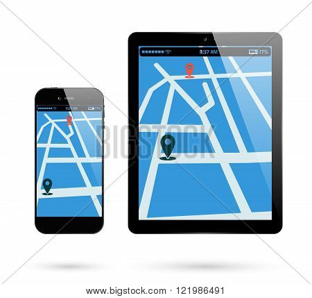 Smartphone and tablet with location mark on screen. Vector illustration.