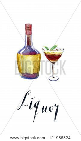 Bottle and cocktail glass of liquor hand drawn watercolor - Illustration