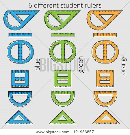 Six multi-colored different rulers of student