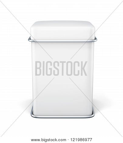 White Metal Bank For Tea Isolated On White Background.