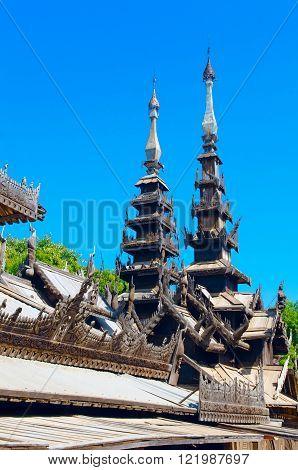 Nat Taung Kyaung wooden monastery. Bagan. Myanmar