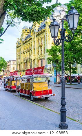 ODESSA, UKRAINE - MAY 18, 2015: The best way to descover the olt city is to take the tourist train, on May 18 in Odessa.