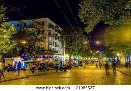 ODESSA UKRAINE - MAY 17 2015: The Deribasovskaya street with the largest number of cafe and restaurants is the most popular place among locals on May 17 in Odessa.