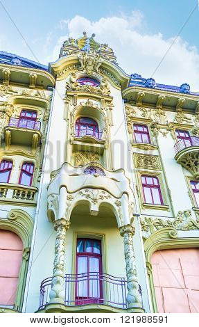 The beautiful frontage of edifice Bolshaya Moskovskaya built in modern style and is a fine example of the style of old Odessa Ukraine