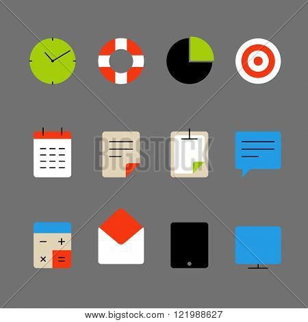 Different color thin web icons set. Lineart design elements collection