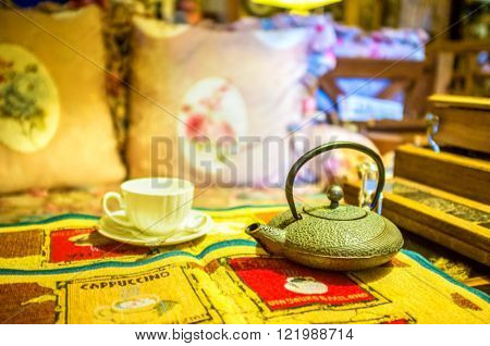 ODESSA UKRAINE - MAY 18 2015: The beautiful tea service in retro style in local cafe on May 18 in Odessa.