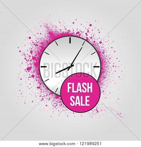 Flash sale grunge pink background with clock