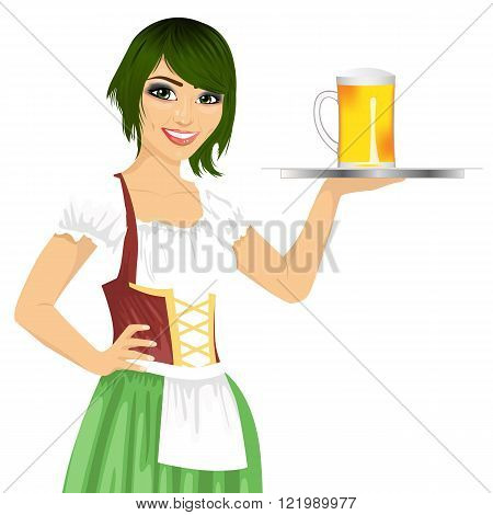 attractive waitress holding tray with beer mug for oktoberfest party wearing a dirndl