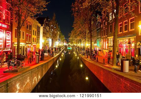 Amsterdam-May 1: Red light district (Wallen) at night on May 1 2015 in Amsterdam the Netherlands.