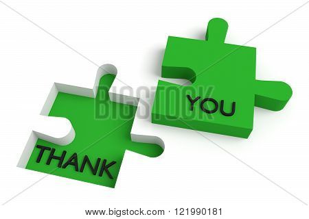 Missing puzzle piece, thank you, green jigsaw
