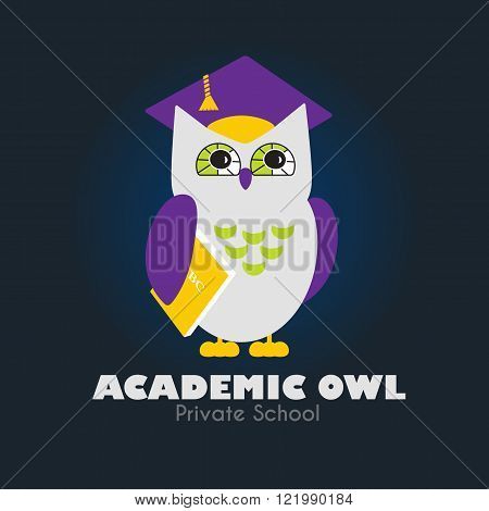 Owl in Graduate Hat holding a Book vector illustration. Educational icon template. School pre-school after-school kid activities back to school book club or library concept. Sample text. Layered editable