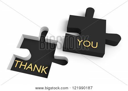 Missing puzzle piece, thank you, black jigsaw with golden letters