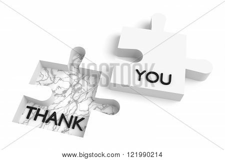 Missing puzzle piece, thank you, marble hole, white jigsaw
