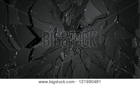 Pieces Of Splitted Or Shattered Glass On Black