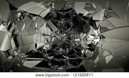 Glass Breaking And Shatter On Black