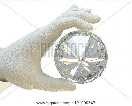 Hand In White Glove Holding Huge Gemstone
