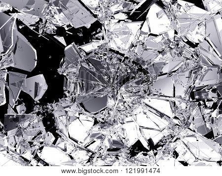 Demolished And Shattered Glass Over Black