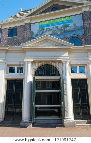 Amsterdam-April 30: Jewish Historical Museum main entrance on April 302015 the Netherlands. Jewish Historical Museum is a museum in Amsterdam dedicated to Jewish history culture and religion.