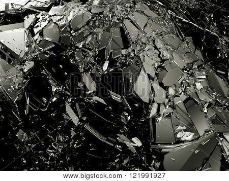 Pieces Of Broken Shattered Black Glass
