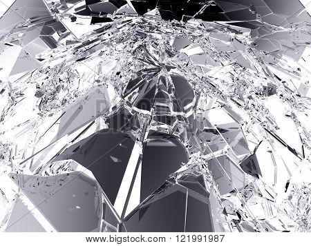 Pieces Of Destructed Or Shattered Glass On White