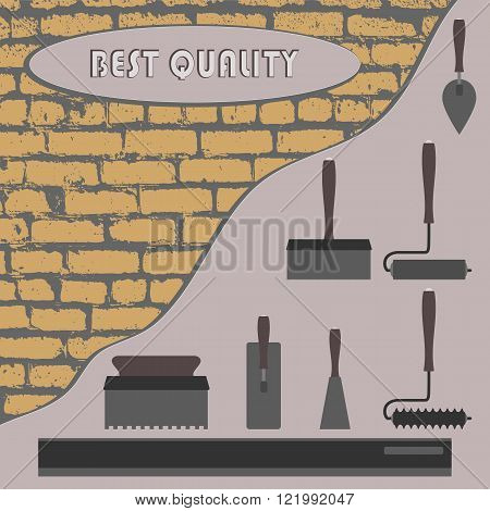 plaster and tools on the wall, the other half of the wall is brick.