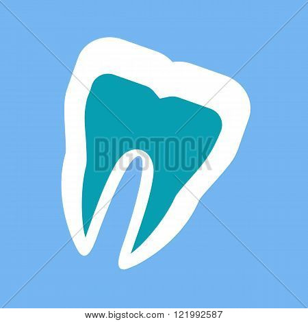 Silhouette of a Healthy Tooth Design Flat