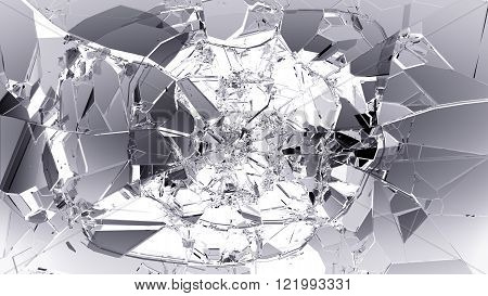 Glass Breaking And Shatter On White