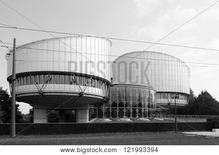 European Court of Human Rights building in Strasbourg France. ECHR is a international court established by the European Convention on Human Rights.