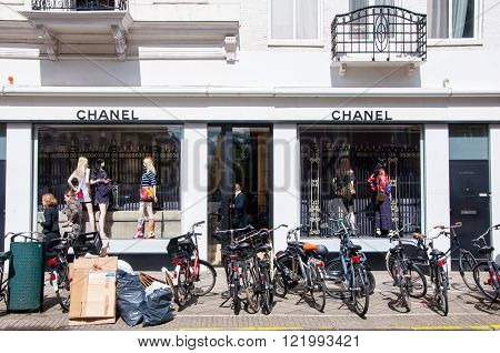 AMSTERDAM-APRIL 30: Chanel store on the P.C.Hooftstraat luxurious shopping street on April 302015 in Amsterdam. The French privately held company was founded in 1909.