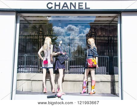 AMSTERDAM-APRIL 30: Chanel store in the P.C.Hooftstraat shopping street on April 302015 in Amsterdam. The French privately held company was founded in 1909.