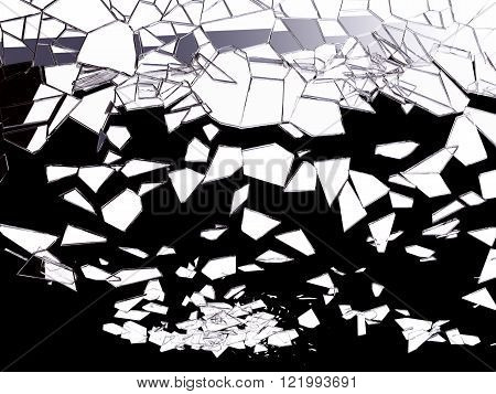 Pieces Of Shattered Glass On Black