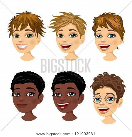 set of boy avatar expressions with different hairstyles