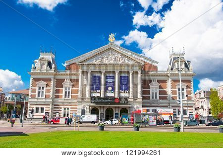 AMSTERDAM-APRIL 30: The Royal Concertgebouw from the Museumplein on April 302015 in Amsterdam the Netherlands.The Royal Concertgebouw is a concert hall in Amsterdam the Netherlands.