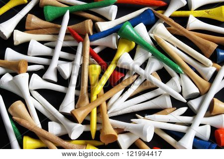 A closeup view of golf tees filling the image frame.