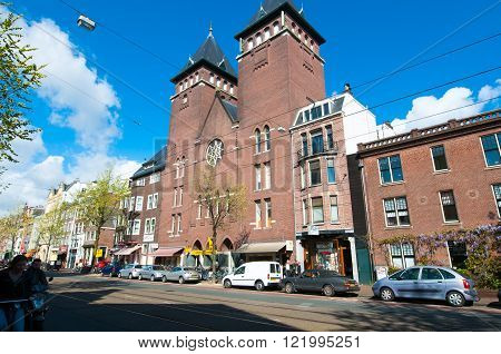 AMSTERDAM-APRIL 30: Amsterdam Fatih Mosque in the famous Jordaan area on April 302015 the Netherlands. The mosque is located in a former Catholic church in Jordaan district.