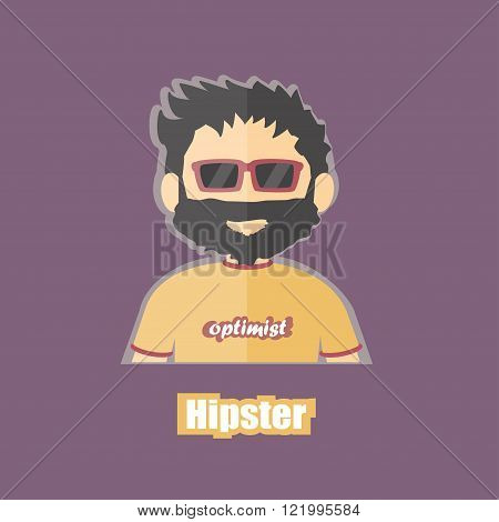 flat cartoon image of hipster, jobless, optimist on isolated backgound
