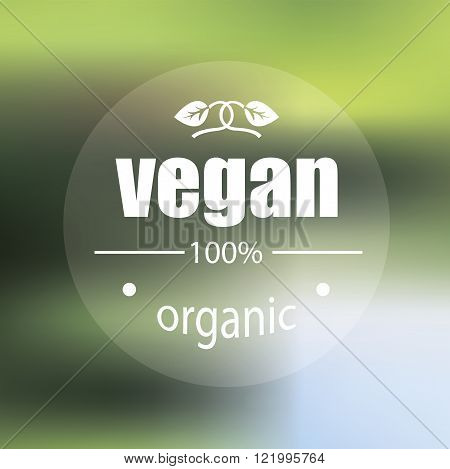 Vegan product label on stylish green background